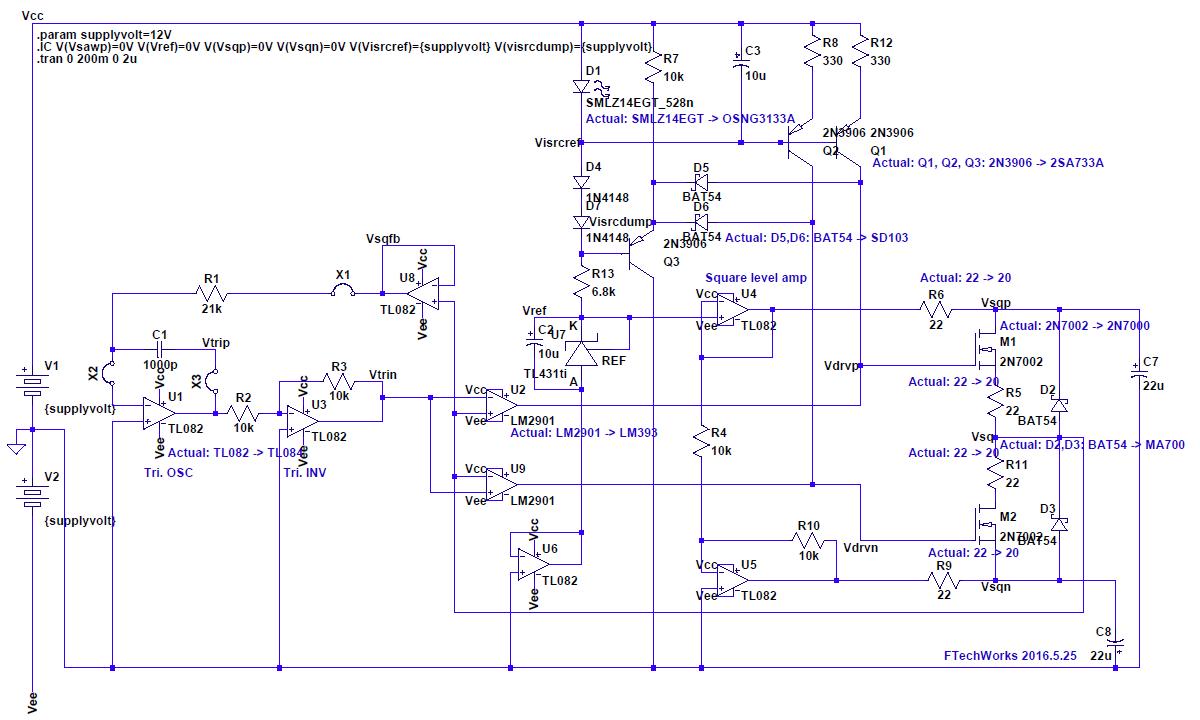 三角波発振器テスト動作 - 概ねシミュレーター通りの動作 | ふるた技工所